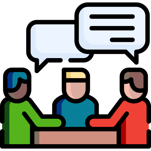 Icon of a group of people sitting together talking